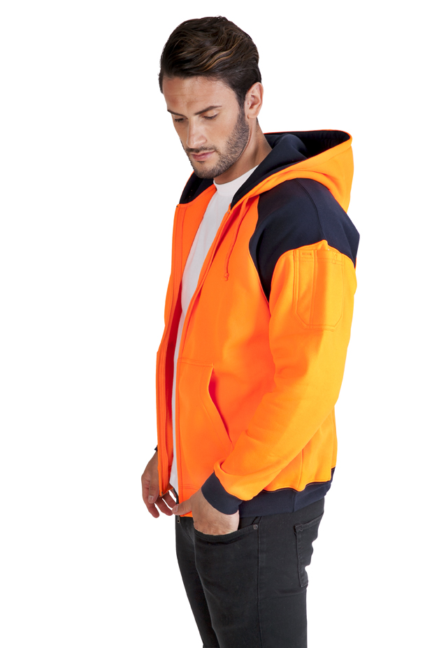 Men Shoulder Contrast Zipper Hoodies