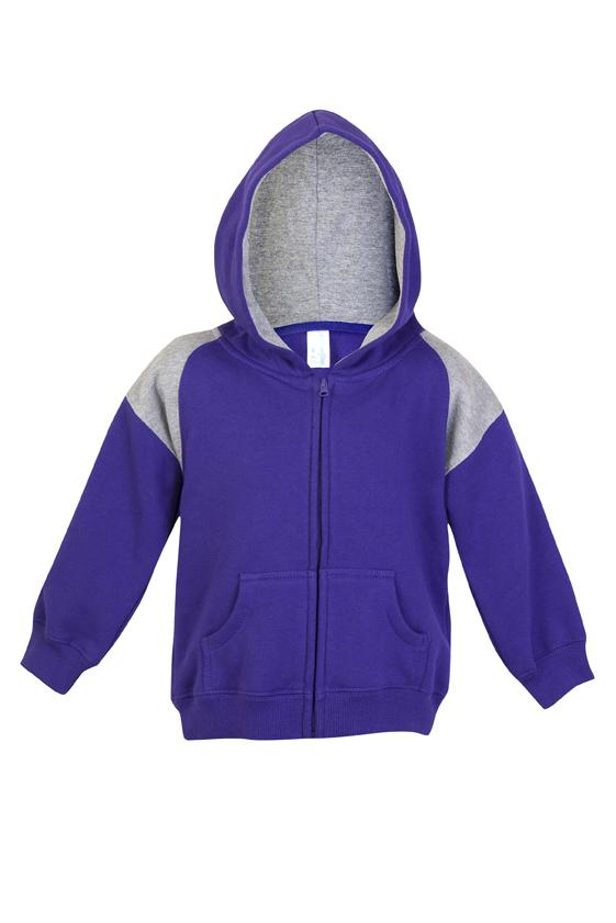 Kids Shoulder Contrast Panel Hoodies with Zipper
