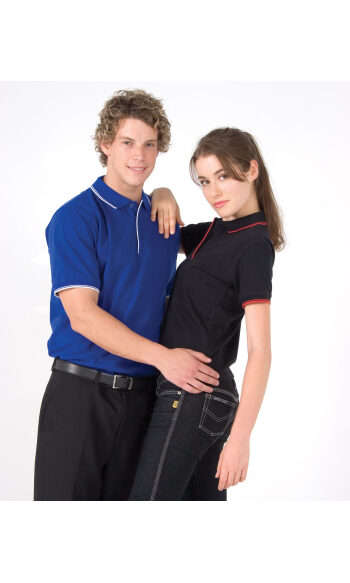 Mens Double Stripe Trim Collar Polo