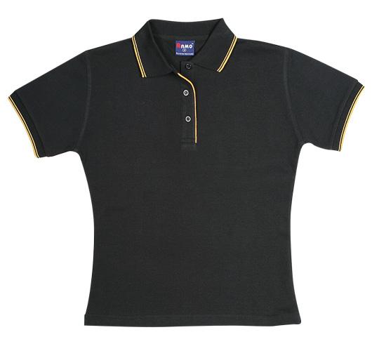 Ladies Double Stripe Trim Collar Polo