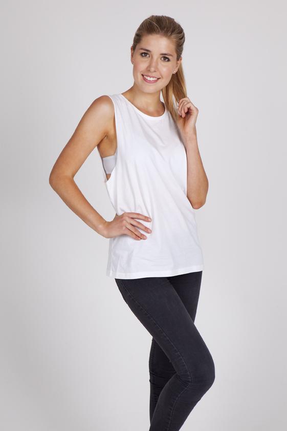 Ladies 160gsm 100% combed cotton sleeveless tee
